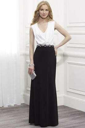 Sleeveless Cowl Neck Jeweled Chiffon Mother Of The Bride Dress