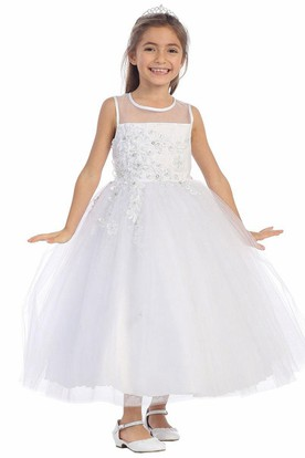 Floral Ankle-Length Beaded Appliqued Tulle&Lace Flower Girl Dress With Tiers