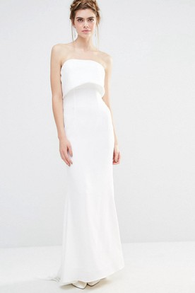 Sheath Strapless Chiffon Wedding Dress With Bow