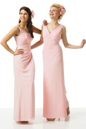 V-Neck Maxi Ruched Chiffon Bridesmaid Dress With Flower And V Back