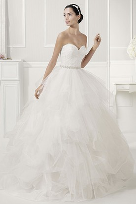 Sweetheart Crystal Waist Layered Organza Bridal Ball Gwon