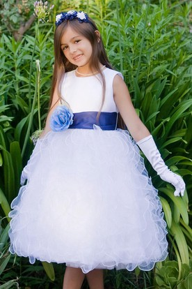 Tea-Length Floral Tiered Organza&Satin Flower Girl Dress With Ruffles