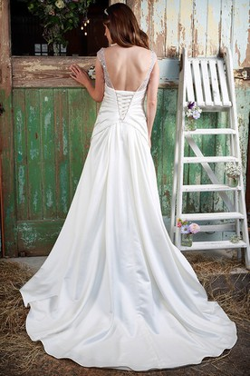 Scoop-Neck Maxi Ruched Cap-Sleeve Satin Wedding Dress With Crystal Detailing