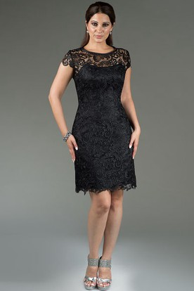 Cap Sleeve Scoop Neck Sheath Knee Length Mother Of The Bride Dress With Allover Lace