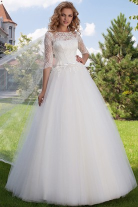 Ball Gown Jewel Neck Appliqued Half Sleeve Tulle Wedding Dress