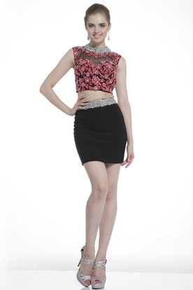 Two-Piece Pencil Short Jewel-Neck Sleeveless Jersey Keyhole Dress With Beading