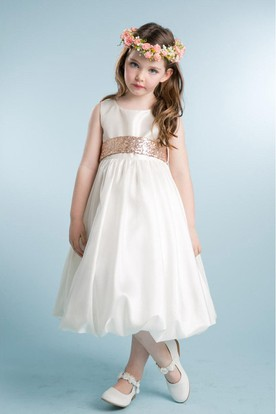 Tea-Length Sleeveless Tulle&Sequins Flower Girl Dress