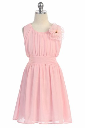 Knee-Length Floral Pleated Chiffon&Lace Flower Girl Dress