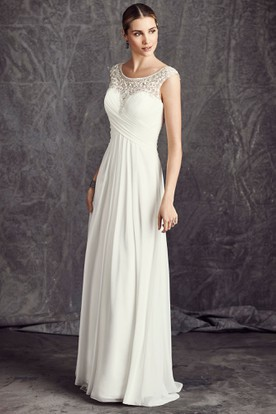 Sheath Floor-Length Beaded Scoop-Neck Sleeveless Chiffon Wedding Dress With Criss Cross And Illusion