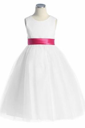 Tea-Length Sleeveless Bowed Tulle&Satin Flower Girl Dress