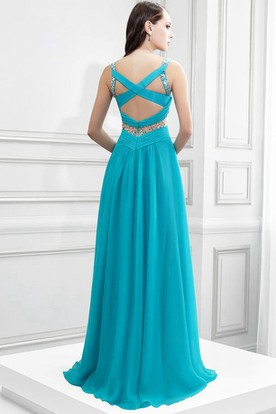 V-Neck Sleeveless Ruched Chiffon Prom Dress With Beading And Brush Train