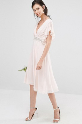 Knee-Length A-Line V-Neck Poet Sleeve Ruched Chiffon Bridesmaid Dress