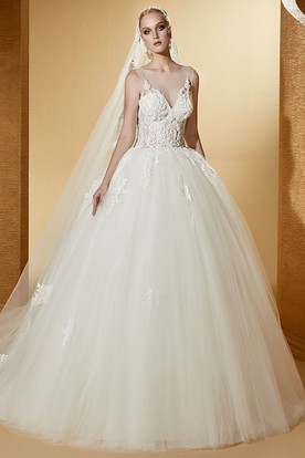 Illusion Cap sleeve Wedding Gown with Fine Appliques and Lace Corset