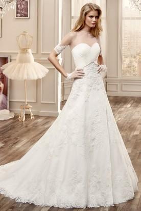 Half-Sleeve Lace Long Wedding Dress With Bandage Bodice And Court Train