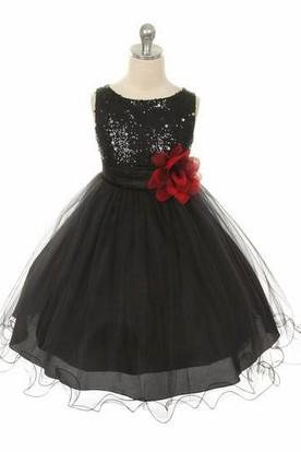 Floral Tea-Length Floral Sequins&Satin Flower Girl Dress With Sash