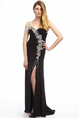 Sheath Floor-Length Beaded One-Shoulder Chiffon Prom Dress With Split Front