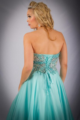 A-Line Sleeveless Sweetheart Beaded Long Tulle Prom Dress With Pleats