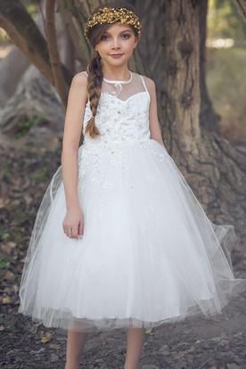 Tea-Length Tiered Beaded Tulle&Satin Flower Girl Dress