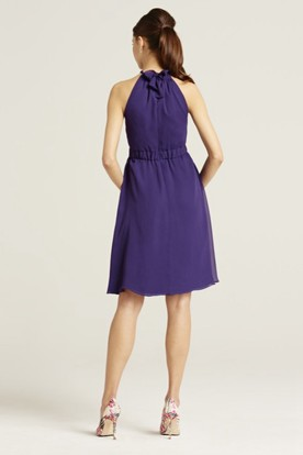 Short Halter Sleeveless Bowed Chiffon Bridesmaid Dress