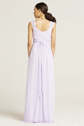 Maxi V-Neck Sleeveless Bowed Chiffon Bridesmaid Dress