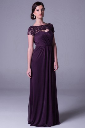 Short Sleeve Bateau Neck Caped Chiffon Bridesmaid Dress With Lace And Ruching