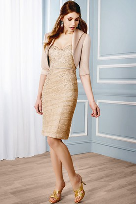 Short Pencil Appliqued V-Neck Half Sleeve Lace Formal Dress With Bolero