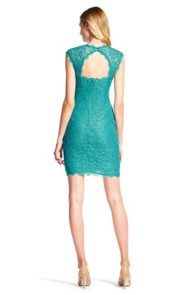 Pencil Square-Neck Cap-Sleeve Short Lace Bridesmaid Dress With Keyhole