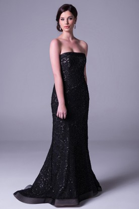Sheath Floor-Length Strapless Sleeveless Appliqued Lace Prom Dress With Beading