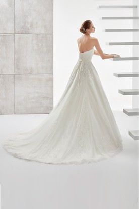 Strapless A-line Wedding Dress With Beaded Belt and Lace-up Back