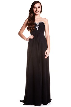 Sheath Sweetheart Sleeveless Beaded Chiffon Prom Dress With Low-V Back