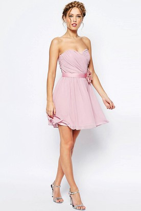 Short Criss-Cross Sweetheart Sleeveless Chiffon Bridesmaid Dress