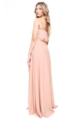A-Line Pleated High Neck Sleeveless Chiffon Bridesmaid Dress With Straps
