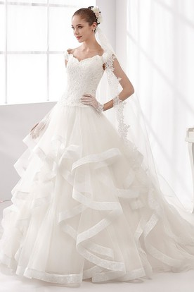 Cap-Sleeve A-Line Wedding Dress With Cascading Ruffles And Lace Corset