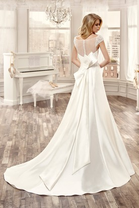Sweetheart Cap-Sleeve Long Wedding Dress With Large Back Bow And Brush Train
