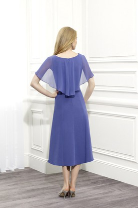 Tea-Length Scoop Neck Poet Sleeve Draped Chiffon Mother Of The Bride Dress With Broach