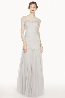 Scalloped Bateau 3-4 Sleeve A-Line Tulle Long Prom Dress With Lace Top