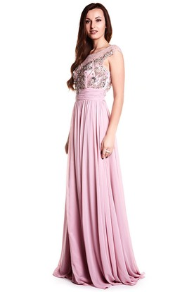 Sheath Beaded Cap-Sleeve Long Scoop-Neck Chiffon Prom Dress With Pleats