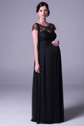 Maxi Cap Sleeve Scoop Neck Empire Lace Chiffon Bridesmaid Dress