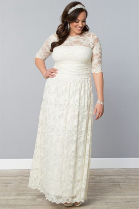 Lace Illusion Half-Sleeve Ankle-Length Dress With Ruched Waist