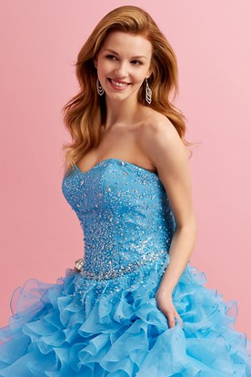 Ball Gown Sweetheart Sleeveless Dress With Ruffles And Beading