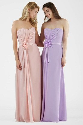 Strapless Ruched Chiffon Bridesmaid Dress With Flower And Sash