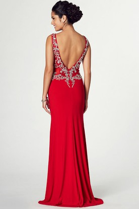 Maxi Appliqued Sleeveless V-Neck Jersey Prom Dress With Split Front