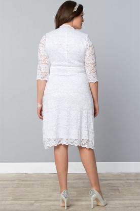 Lace Half-Sleeve Scalloped-Neck Midi Dress