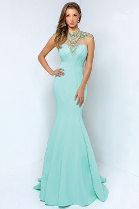 Mermaid Maxi High Neck Sleeveless Jersey Keyhole Dress With Beading