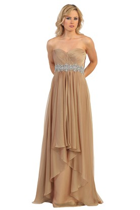 A-Line Sweetheart Chiffon Backless Dress With Criss Cross And Waist Jewellery