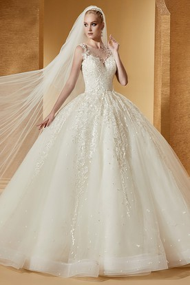 Romantic Cap Sleeve Appliques Ball Gown With Illusive Neckline And Brush Train