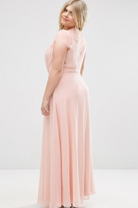Sheath V-Neck Cap-Sleeve Long Chiffon Bridesmaid Dress With Illusion