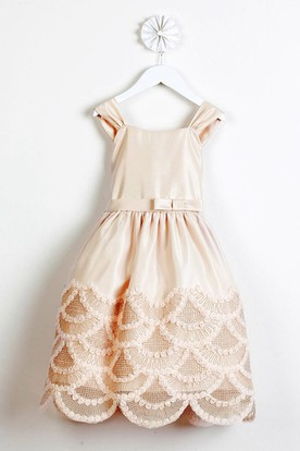 Tea-Length Ruffled Bowed Satin Flower Girl Dress With Embroidery