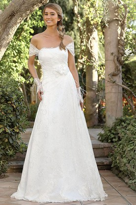 A-Line Long Appliqued Off-The-Shoulder Lace Wedding Dress With Flower