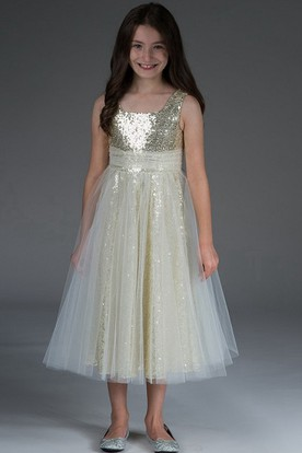 Flower Girl Empire Square Neck Tulle Tea Length Dress With Sequin Lining